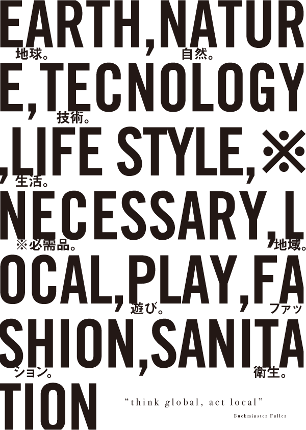 EARTH,NATURE,TECNOLOGY,LIFE STYLE,NECESSARY,LOCAL,PLAY,FASHION,SANITATION